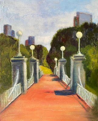"Contemporary Landscape Painting, Bridge, Cityscape ""Swan Crossing"" by California Artist Cecelia Catherine Rappaport"