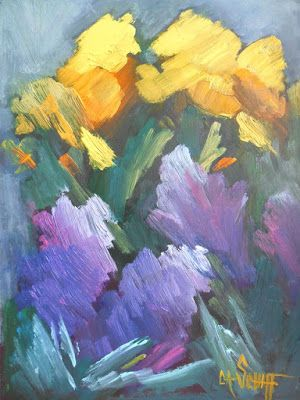 Flower Painting, Daily Painting, Small Oil Painting, Expressionist Art, Print on Canvas