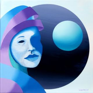 Mark Adam Webster - Untitled Mask with Sphere Oil Painting