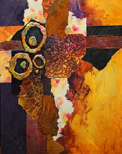 "Mixed Media Abstract Painting, ""Slow Tango"" by Colorado Mixed Media Artist Carol Nelson"