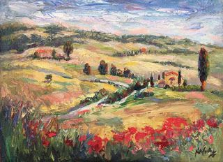 """""""Tuscan Vista"""" Palette Knife Painting by Niki Gulley"""