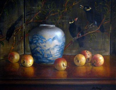 Lady Apples with Oriental Porcelain Ginger Jar and Silk Screen with Black Birds classical still life oil painting