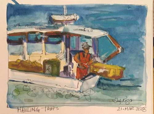 """Day 167 """"Hauling Traps"""" 6 x 9 watercolor & ink"""