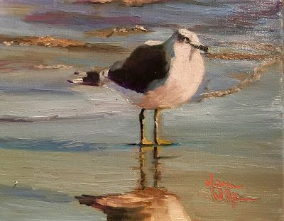 Norma Wilson Original Oil Seagull Ocean Seascape Coastal Living Decor Painting Art
