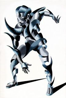 Mark Webster - Cesar 2203 - Abstract Geometric Futurist Figurative Oil Painting