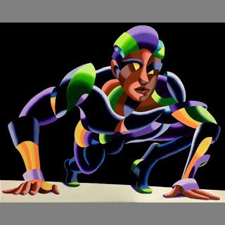 Mark Webster - Dave 11.04 - Abstract Geometric Futurist Figurative Oil Painting