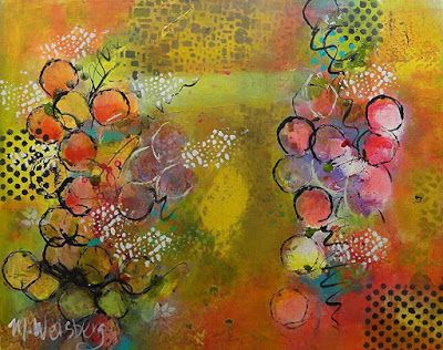 "Contemporary Abstract Fine Art Painting ""Feeling Bubbly"" by Illinois Artist Marilyn Weisberg"