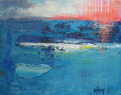 "Abstract Seascape, Contemporary Painting, ""The Sun falls to the Sea"" by Carol Schiff, 11x14"" Original Abstract"