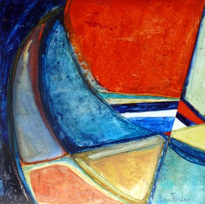 "Contemporary Geometric Abstract Painting ""SANTA CATALINA"" by Contemporary Artist Lou Jordan"