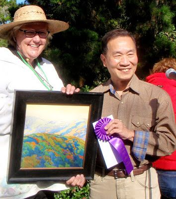 """Best Watercolor Award for """"Carmel Valley Evening Glow"""" from Mian Situ at the Carmel Art Festival"""