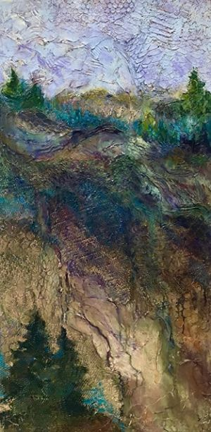 "Abstract Landscape, Contemporary Art, Textured Art, Mixed Media, ""SILENT VOICES"" by Contemporary Artist Liz Thoresen"