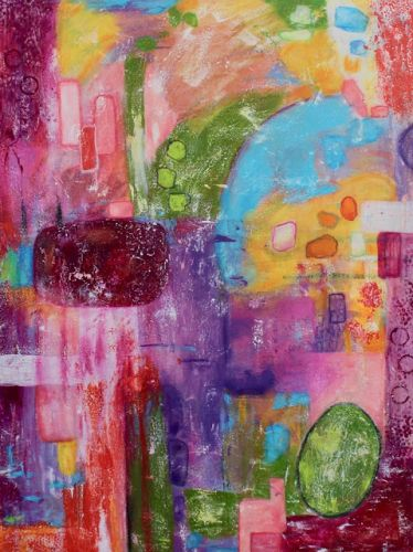 """Abstract Painting, Expressionism, Contemporary art, Large Colorful Wall Art """"The Rebel's Frolic"""" by International Contemporary Artist Kimberly Conrad"""