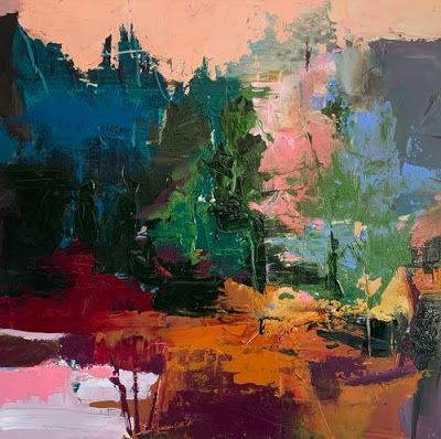 """Contemporary Abstract Landscape Art Painting """"A STREAM OF MAGIC"""" by Intuitive Artist Joan Fullerton"""
