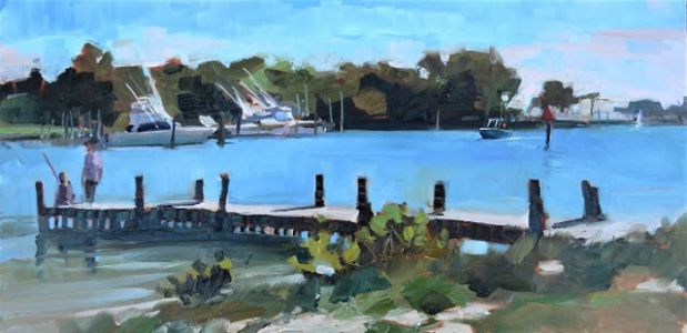 """Fishing at Sandsprit Park"" plein air oil painting by Robin Weiss"