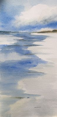 "Contemporary Watercolor Beach Scene, ""Reflection,"" by Amy Whitehouse"
