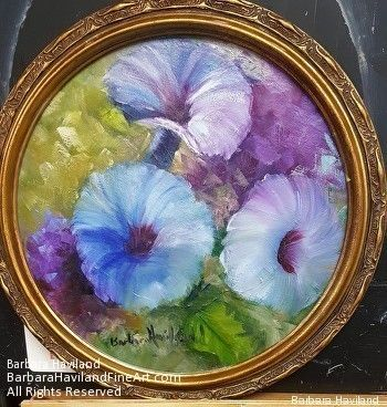 Blue Morning Glories,oils canvas, Barbara Haviland,Texas Floral Artist