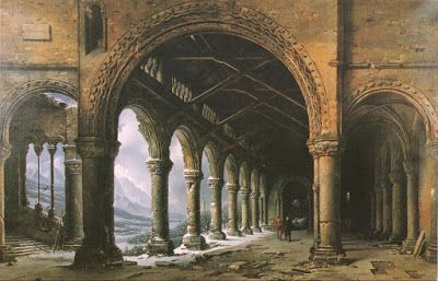 Louis Jacques-Mandé Daguerre, The Effect of Fog and Snow Seen through a Ruined Gothic Colonnade