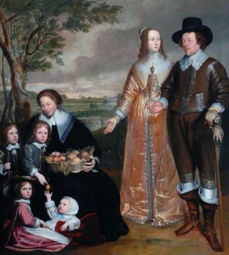 The 17C Family Portrayed Outdoors with the Fruits of their Garden
