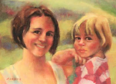 "Fine Art Portrait Painting "" Mommy and Me"" by Illinois Artist Marilyn Weisberg"