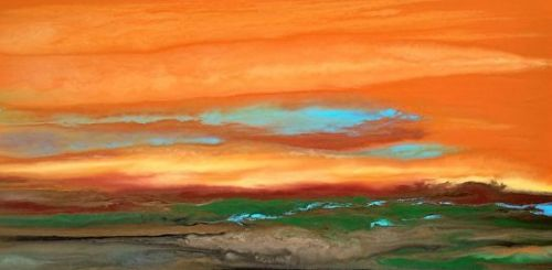"""Abstract Landscape Painting, Sunset Painting, """"Blazing Sky Reflected VII"""" by Colorado Contemporary Landscape Artist Kimberly Conrad"""