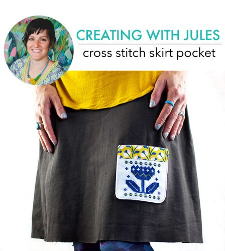 Creating with Jules: cross stitch pocket