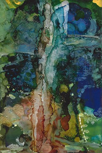 "Original Contemporary Abstract Mixed Media, Alcohol Ink Painting ""OLD GROWTH"" by Contemporary Artist Lou Jordan"