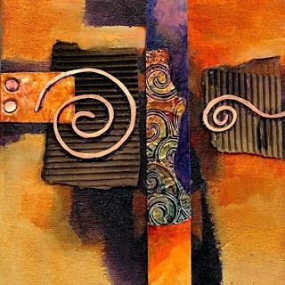"Abstract Mixed Media Painting ""Copper Curls"" by Colorado Mixed Media Abstract Artist Carol Nelson"