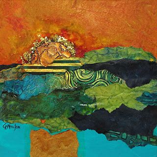 "Abstract Landscape, Mixed Media, Blazing Sky, Contemporary Painting ""Blazing Glory"" by Carol Nelson Fine Art"