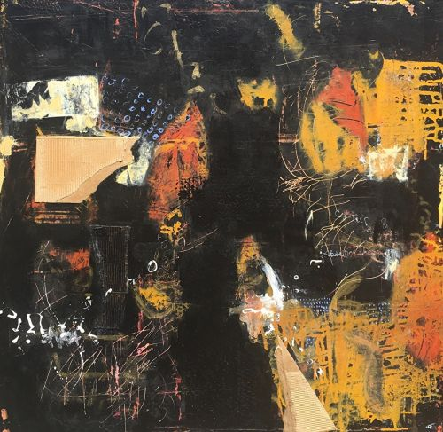 """Contemporary Abstract Expressionist Painting """"MIDNIGHT IN NEW ORLEANS"""" by Abstract Artist Pamela Fowler Lordi"""
