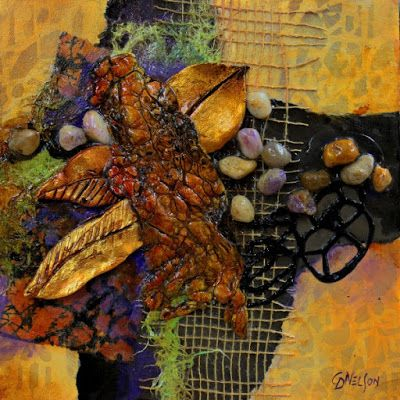 "Mixed Media Abstract Collage, ""Forest Floor"" © Carol Nelson Fine Art"