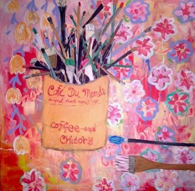 "Contemporary Still Life Art Painting,Paintbrush,Large Wall Art ""Studio Brush Bouquet"" Narrative Art by Santa Fe Artist Judi Goolsby"
