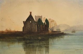 Andrew Nicholl, Castle Ruins and Tall Ship in the Bay