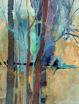 "Contemporary Landscape, Trees, Abstract Art Painting ""Something in the Woods"" by Carol Nelson Fine Art"