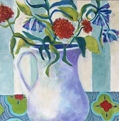 "Contemporary Expressionist Still Life Art Painting ""Mountain Wildflowers"" by Santa Fe Artist Annie O'Brien Gonzales"