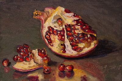 Pomegranate a painting a day daily painting daily painter small original oil painting miniature