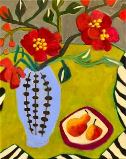 "Contemporary Expressionist Still Life Art,Bold Expressive Painting ""Peonies and Pears"" by Santa Fe Artist Annie O'Brien Gonzales"