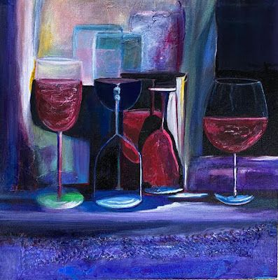 """Still Life, Wine Glasses, Impressionist Interior ViewPainting, Purple Painting """"Wine With a Mask, Pls"""" by California Artist Cecelia Catherine Rappaport"""