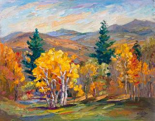 """Fall Majesty"" Palette Knife Painting by Contemporary Impressionist Niki Gulley"