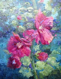 Hollyhocks, New Contemporary Landscape Painting by Sheri Jones