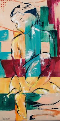 """Contented"" - Abstract Figurative Painting by Arizona Artist, Sharon Sieben"