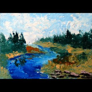 Mark Webster - River Palette Knife Oil Painting 9710