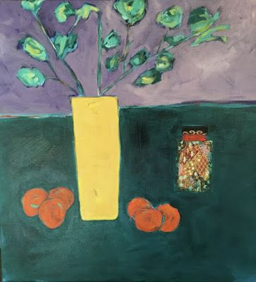 "Contemporary Expressionist Still Life Fine Art Painting ""GRANDMOTHER'S TABLE"" by Oklahoma Artist Nancy Junkin"
