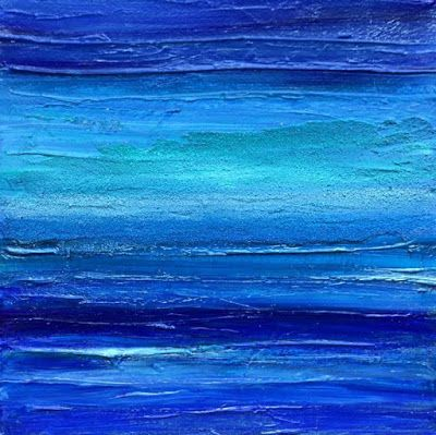 Abstract Seascape, blue art, california artist, Cecelia Catherine Rappaport, Mixed Media, textured painting