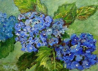 "Blue Hydrangea Oil Painting Flower Art ""The Special Gift"" by Florida Impressionism Artist Annie St. Martin"