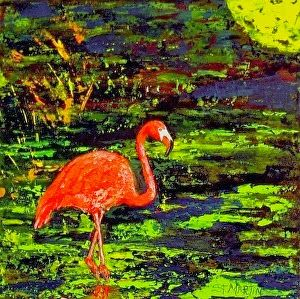 "Flamingo Art, Coastal Wildlife, Bird,""Flamingo In Technicolor"" Florida Impressionism Artist Annie St Martin"