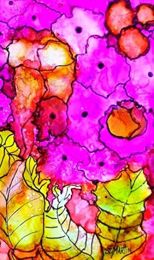 "Abstract Flower Art Painting ""Magenta Bloom"" by Florida Impressionism Artist Annie St Martin"