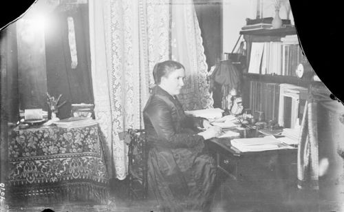 Alice Cunningham Fletcher and Francis La Flesche in the Transcription Center