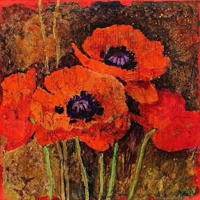 "Flower Art Painting ""Batik Poppies"" by Colorado Mixed Media Abstract Artist Carol Nelson"