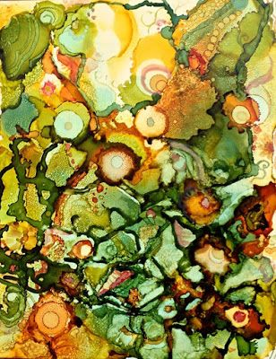 "Alcohol Inks, Contemporary Abstract Art Painting, ""CUCUMBERS AND MELONS"" by New Orleans Artist Lou Jordan"