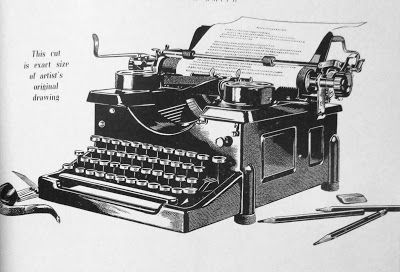 A Typewriter Drawn in Scratchboard